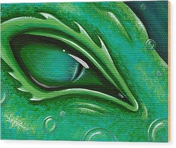 Eye Of The Green Algae Dragon Wood Print by Elaina  Wagner