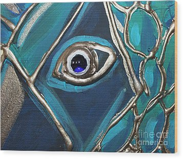 Eye Of The Peacock Wood Print by Cynthia Snyder