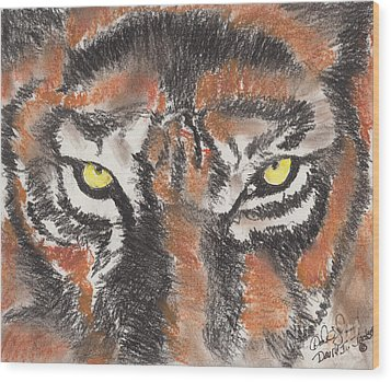 Eye Of The Tiger Wood Print by David Jackson