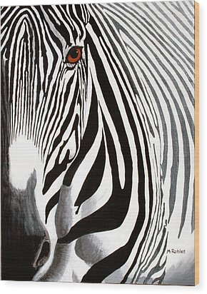 Eye Of The Zebra Wood Print by Mike Robles