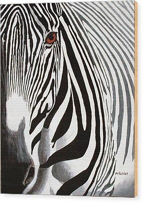 Eye Of The Zebra Wood Print