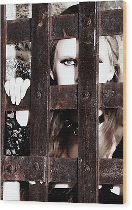 Eye See You From Behind The Bars Wood Print by Jim Poulos