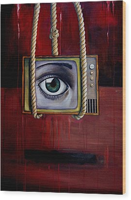 Eye Witness Wood Print by Leah Saulnier The Painting Maniac