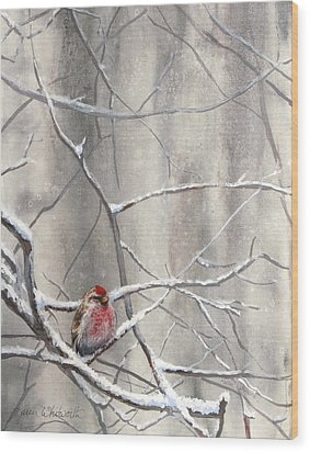 Eyeing The Feeder Alaskan Redpoll In Winter Wood Print by Karen Whitworth
