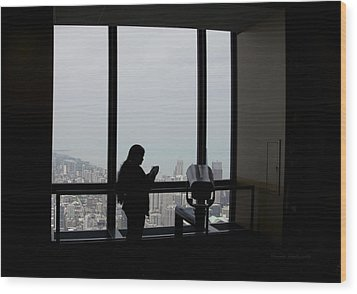Eyes Down From The 103rd Floor Texting From The Top Of The World Wood Print by Thomas Woolworth