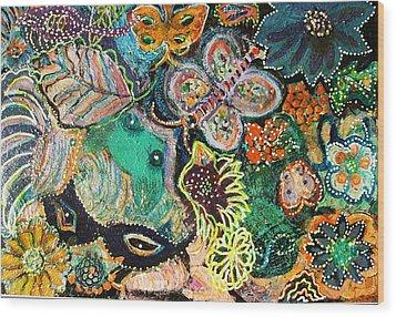 Eyes In Hiding Wood Print by Anne-Elizabeth Whiteway