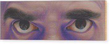 Eyes In The Mirror - Pastel Wood Print by Ben Kotyuk