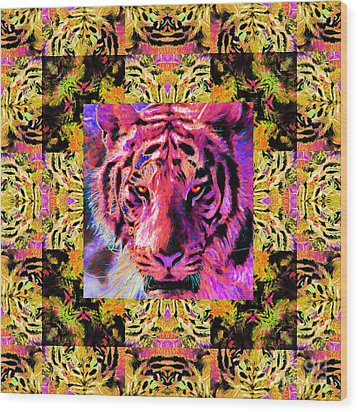 Eyes Of The Bengal Tiger Abstract Window 20130205p80 Wood Print by Wingsdomain Art and Photography
