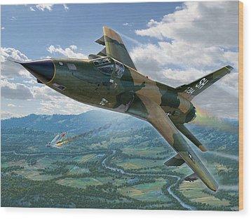 F-105d Thunderchief Mary Kay Wood Print by Stu Shepherd