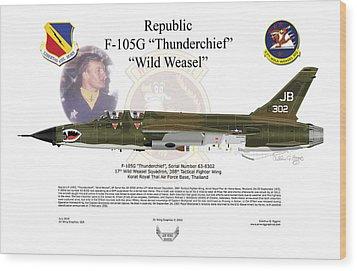 Wood Print featuring the digital art F-105g Thunderchief Wild Weasel by Arthur Eggers