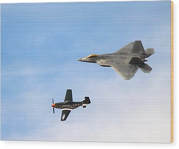 F-22 And P-51 Heritage Flight Wood Print