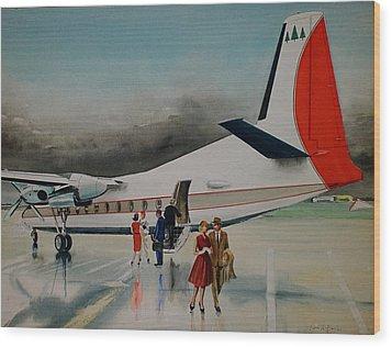 F-27 At Columbus Ohio Wood Print by Frank Hunter