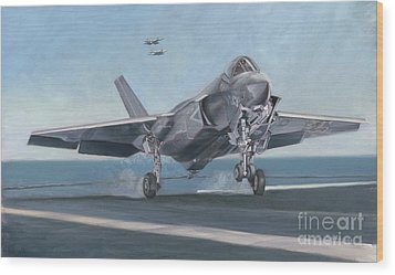 Wood Print featuring the painting F-35c Carrier Landing by Stephen Roberson