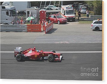 F1 - Fernando Alonso  -  Ferrari Wood Print by David Grant