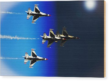 Wood Print featuring the photograph F16 Flight Into Space by DigiArt Diaries by Vicky B Fuller