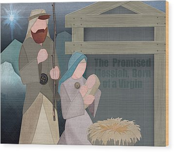 Fabric Nativity Wood Print by Michele Engling