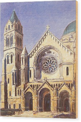 Facade Of Cathedral Basilica In St.louis Wood Print