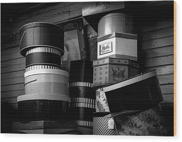 Face Behind The Hat Boxes Wood Print by Bob Orsillo