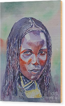 Face From Sudan  1 Wood Print by Mohamed Fadul