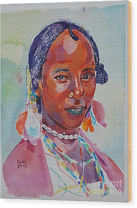 Face From Sudan  2 Wood Print by Mohamed Fadul