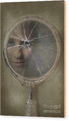 Face In Broken Mirror Wood Print by Amanda Elwell