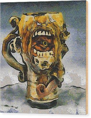 Face Mug By Face Jug  Wood Print by Teara Na