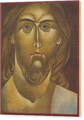 Face Of Christ Wood Print by Mary jane Miller