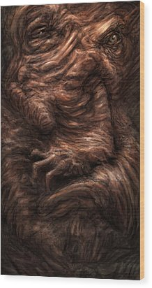 Face Of The Beast Wood Print by Ethan Harris