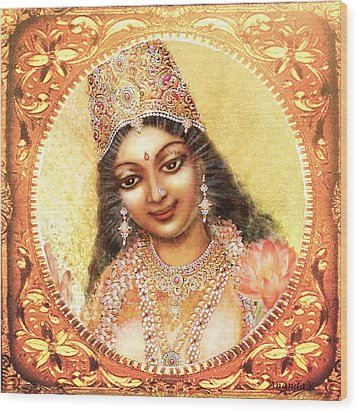Wood Print featuring the mixed media Face Of The Goddess - Lalitha Devi  by Ananda Vdovic