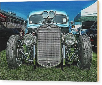 Face Of The Rat Rod Wood Print by Victor Montgomery