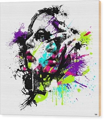 Face Paint 1 Wood Print by Jeremy Scott