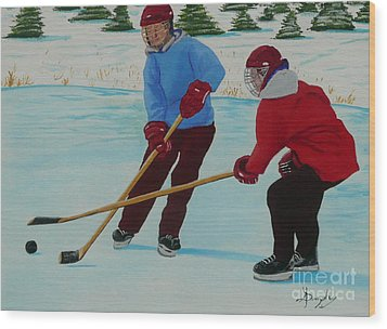 Faceoff Wood Print by Anthony Dunphy