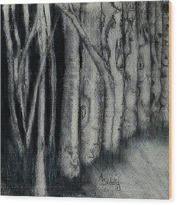 Wood Print featuring the painting Faces In The Night by Annamarie Sidella-Felts