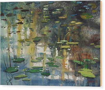 Faces In The Pond Wood Print
