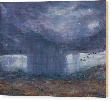 Facing The Storm Wood Print by Carla Woody