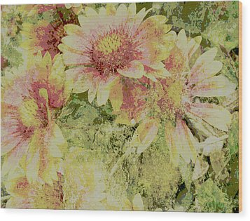 Faded Love Abstract Floral Art Wood Print by Ann Powell