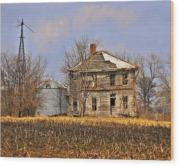 Fading Farm Wood Print by Marty Koch