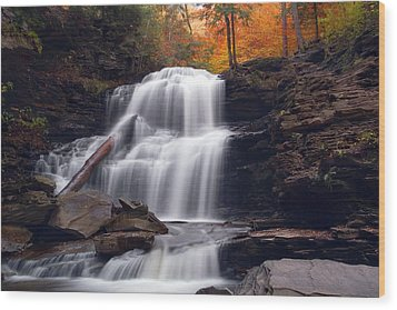 Fading October Daylight On Shawnee Falls Wood Print by Gene Walls