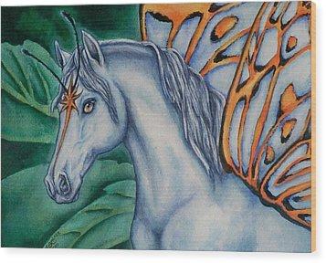 Faery Horse Star Fyre Wood Print by Beth Clark-McDonal