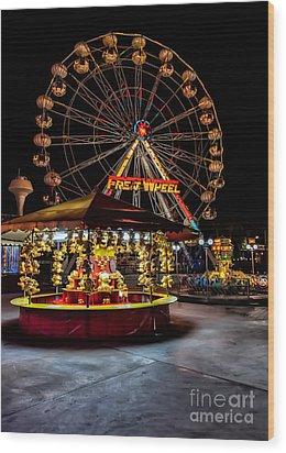 Fairground At Night Wood Print by Adrian Evans