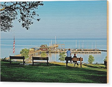 Fairhope Alabama Pier Wood Print by Michael Thomas