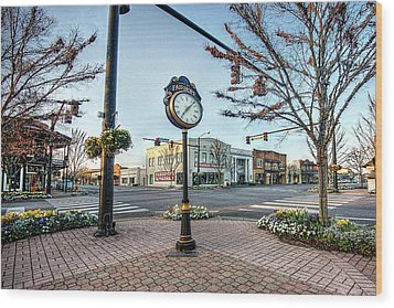 Fairhope Clock And 4 Corners Wood Print by Michael Thomas
