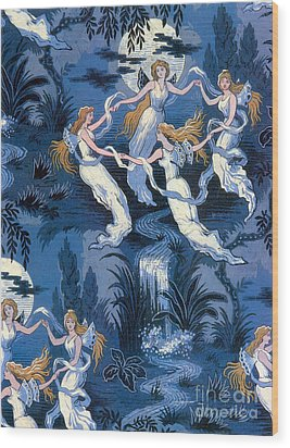 Fairies In The Moonlight French Textile Wood Print by Photo Researchers