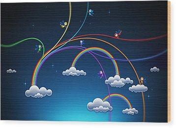 Fairies Made Rainbow Wood Print by Gianfranco Weiss