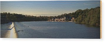 Fairmount Dam And Boathouse Row Wood Print by Photographic Arts And Design Studio