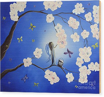 Fairy Blossoms By Shawna Erback Wood Print by Shawna Erback