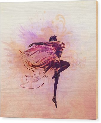 Fairy Dance Wood Print by Lilia D