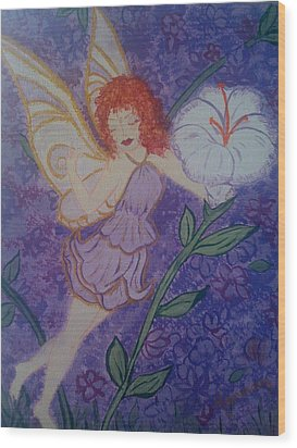 Wood Print featuring the painting Fairy Harmony  by Judi Goodwin
