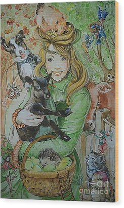 Fairy Hoppert Wood Print by Ottilia Zakany