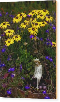 Wood Print featuring the photograph Fairy In Garden Pot by Dave Garner